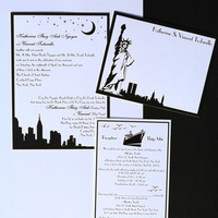 Stationery, Destinations, Destination Weddings, North America, Invitations, City, Wedding, Destination wedding, New york, Invitations by ajalon, City skyline, Thermographics, Statue of liberty