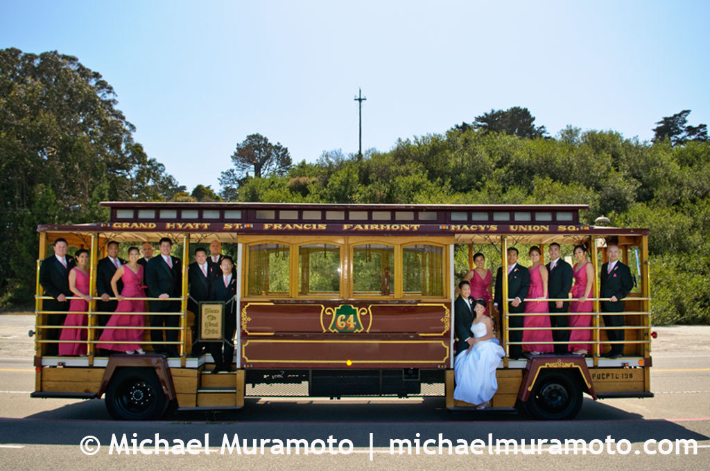 pink, Bride, Groom, Bridal party, San francisco, Trolley, Michael muramoto photography