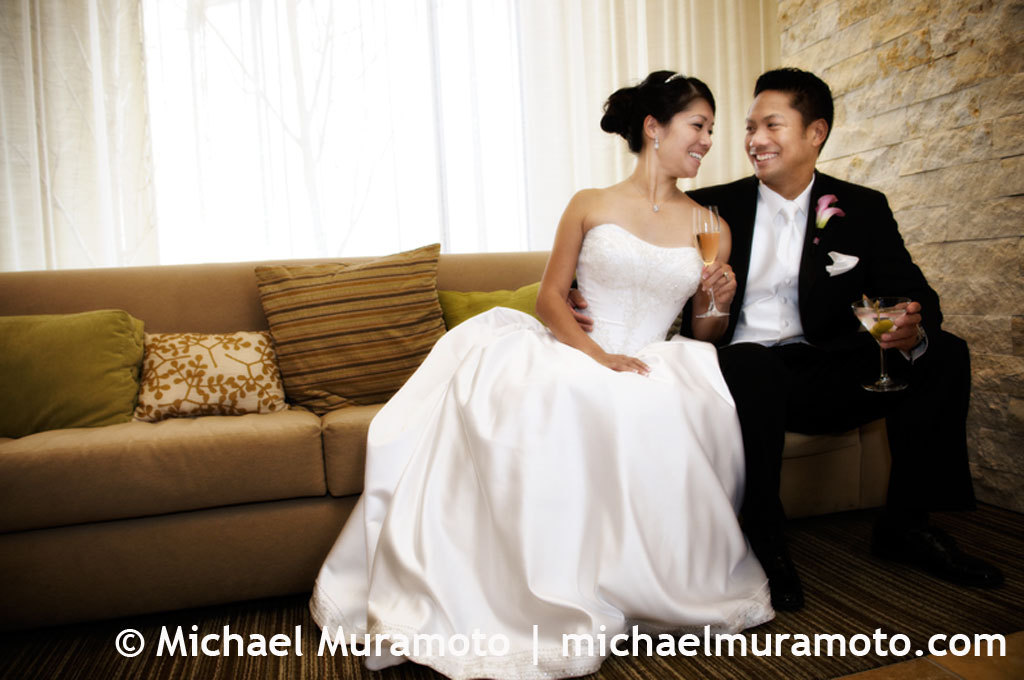 Bride, Groom, Portrait, Hotel, San francisco, Michael muramoto photography, Vitale, Bar americano