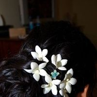 Beauty, Flowers & Decor, blue, Updo, Flower, Hair, Loose, Something, Pin, Something blue stylists