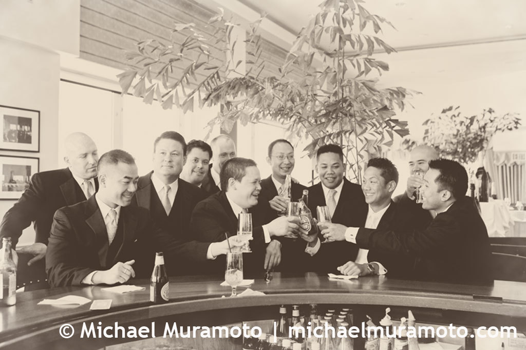 Groomsmen, Groom, Bar, Sepia, Michael muramoto photography