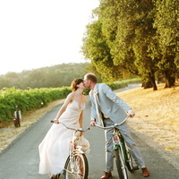 yellow, Wedding, Farm, Sonoma valley, Bicycles
