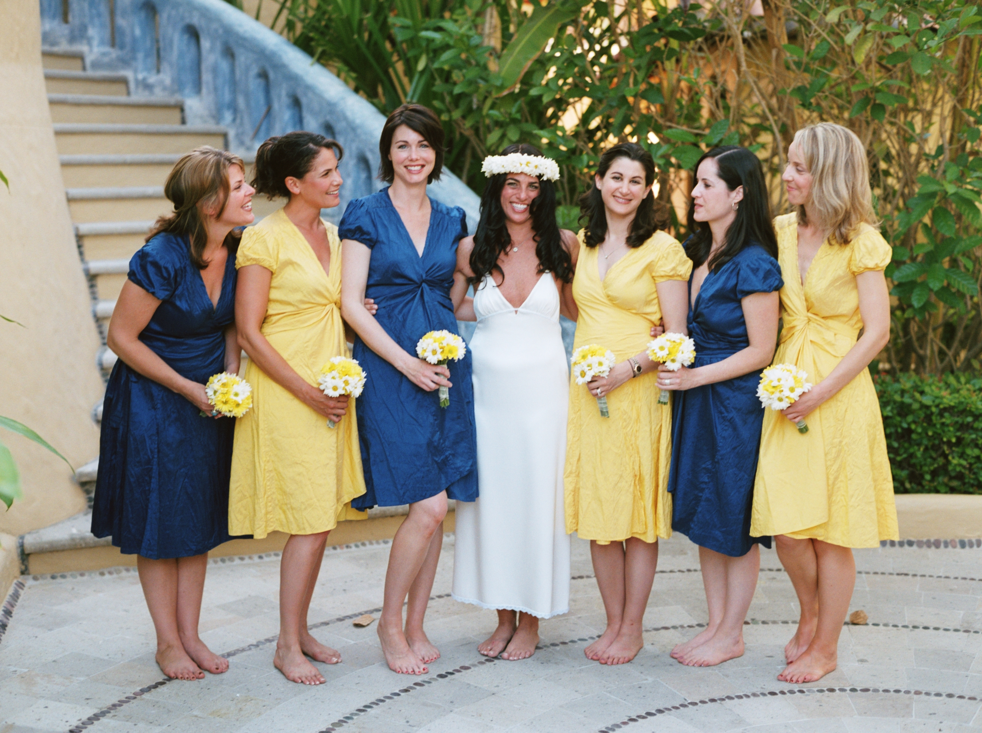 Bridesmaids, Bridesmaids Dresses, Destinations, Fashion, yellow, blue, Destination Weddings, Mexico, Beach Weddings, Wedding, Nautical, Navy, Mexico weddings, The tides zihuatanejo, Silk wrap dresses
