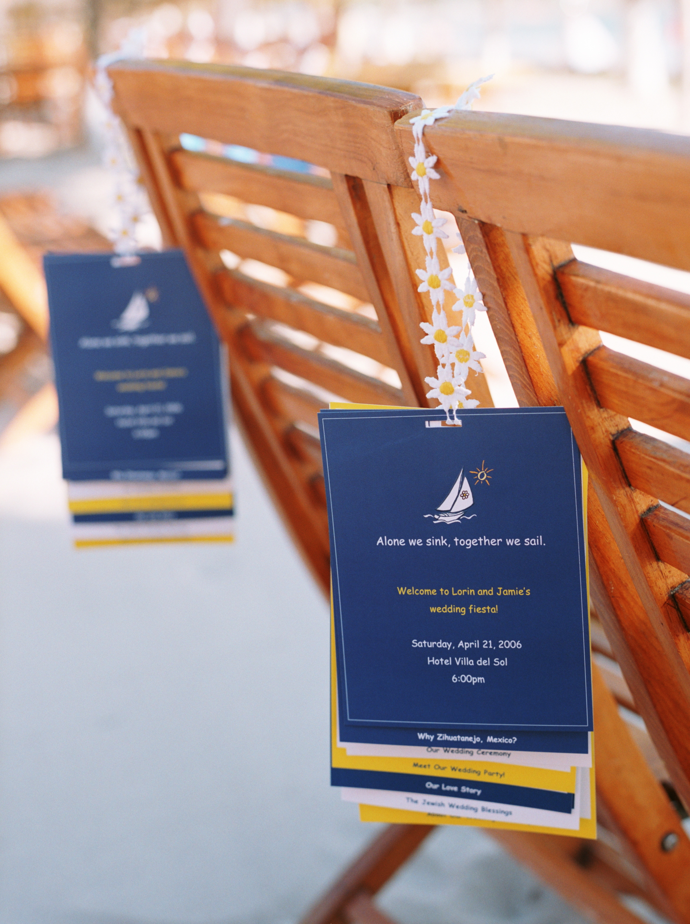 Flowers & Decor, Decor, Stationery, Destinations, yellow, blue, Destination Weddings, Mexico, Ceremony Programs, Programs, Wedding, Nautical, Navy, Mexico weddings, The tides ziahuatanejo