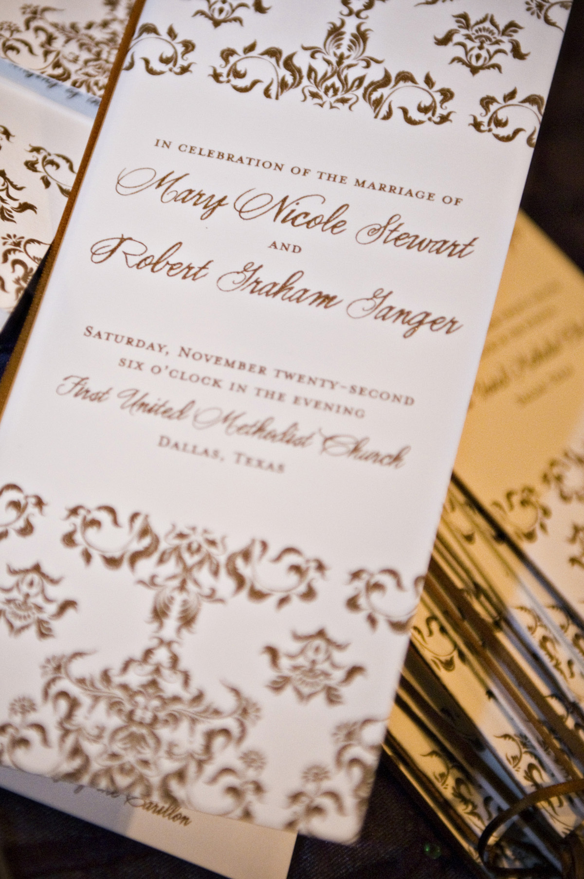 Stationery, gold, invitation, Invitations, Program, Letterpress, Proskalo inc