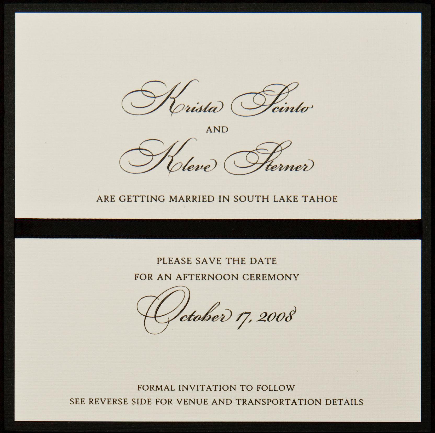 Stationery, white, black, invitation, Square, Invitations, Save the date, Ribbon, Proskalo inc