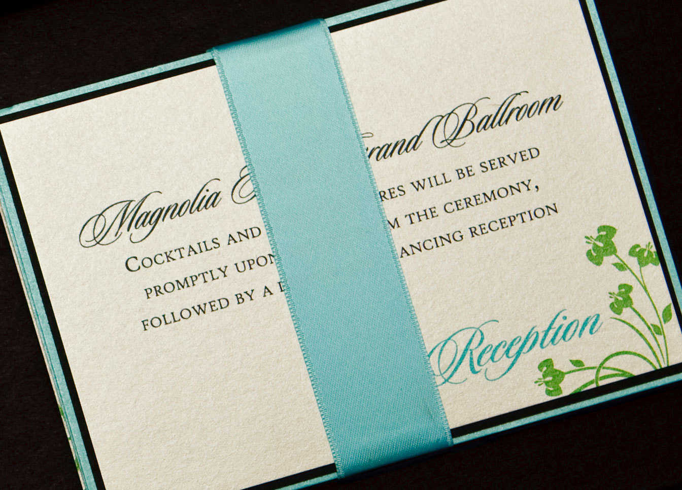Flowers & Decor, Stationery, green, black, invitation, Invitations, Flower, Teal, Proskalo inc