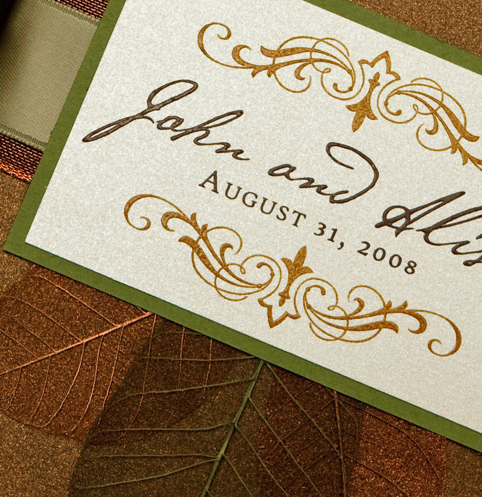 Stationery, green, brown, invitation, Invitations, Monogram, Winery, Bronze, Proskalo inc