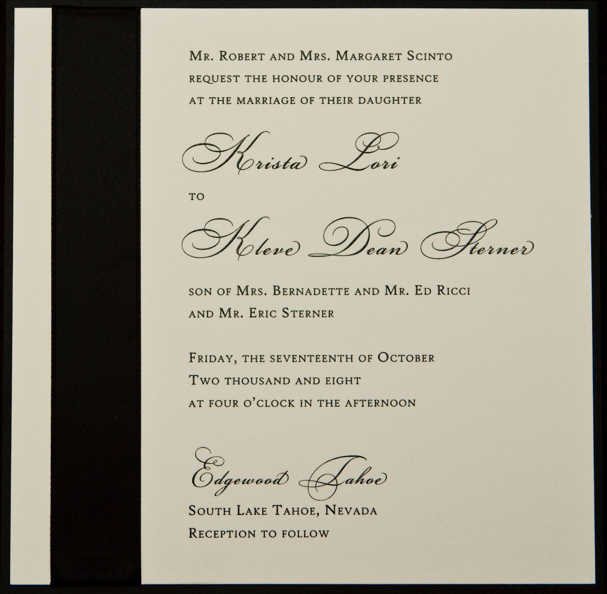 Stationery, white, black, invitation, Square, Invitations, Black and white, Ribbon, Proskalo inc