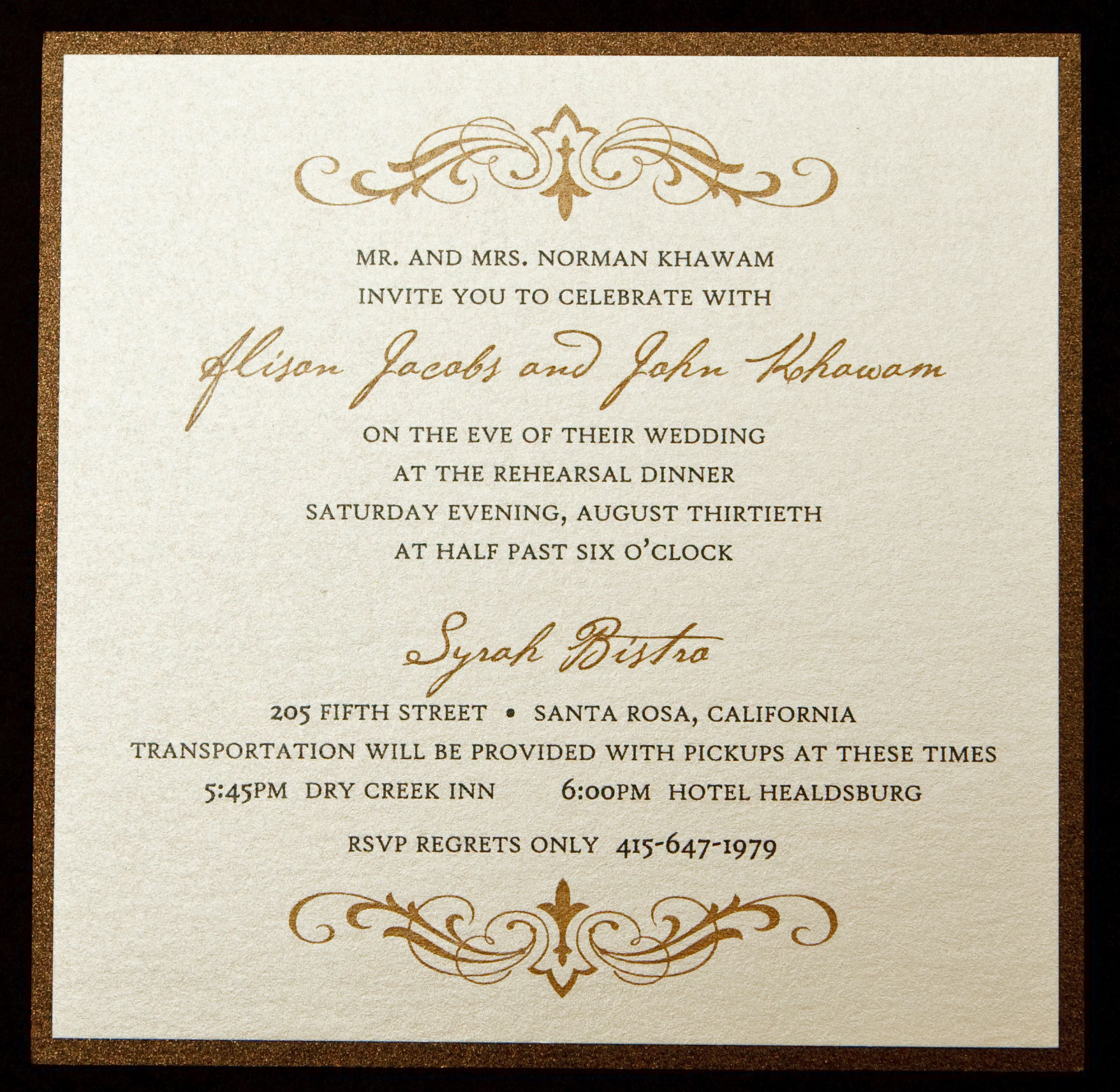 Stationery, brown, invitation, Invitations, Rehearsal dinner, Winery, Bronze, Proskalo inc