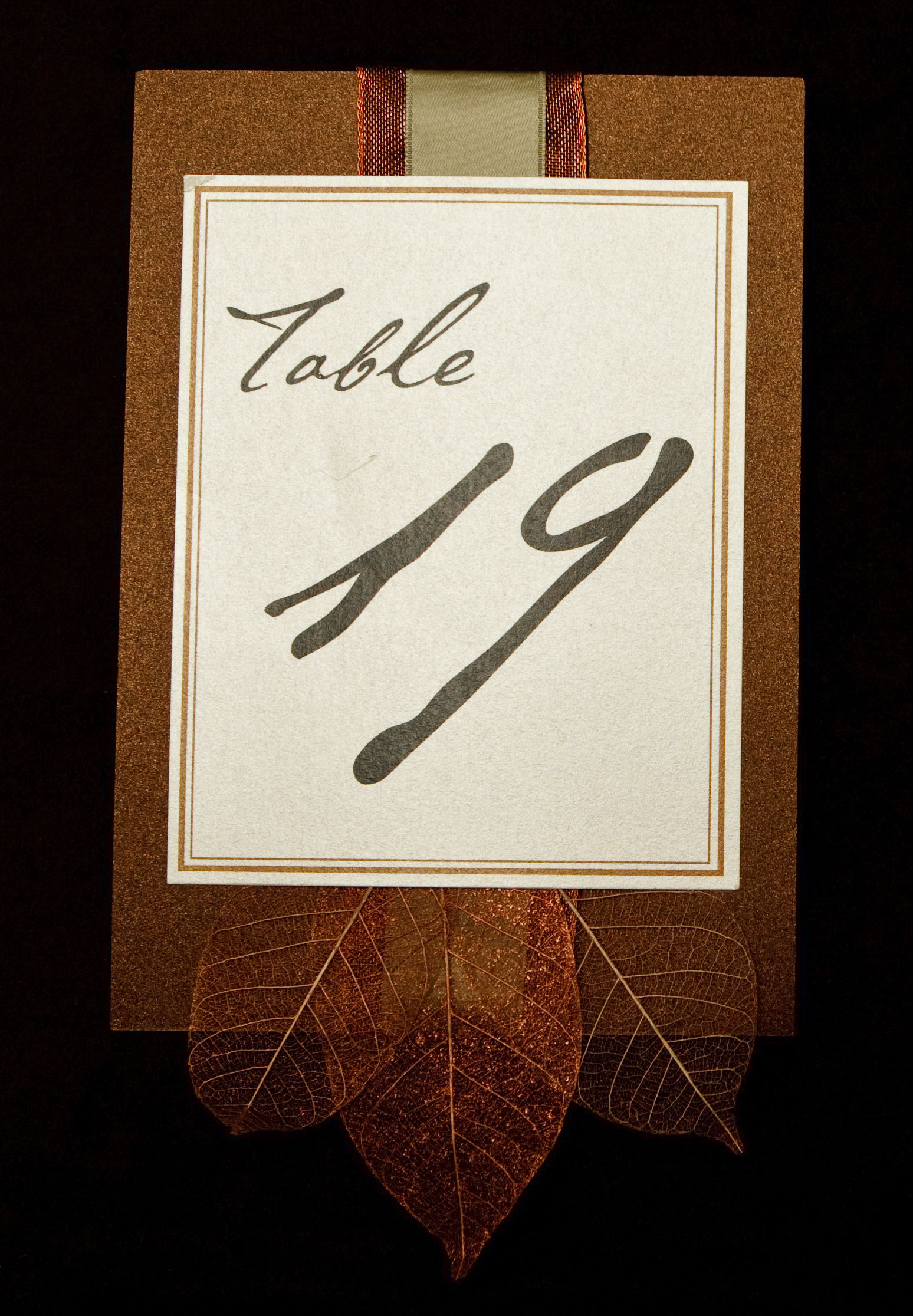 Stationery, green, brown, invitation, Invitations, Table Numbers, Table number, Winery, Leaves, Bronze, Proskalo inc