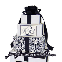 Reception, Flowers & Decor, ivory, black, Modern, Bride, Custom, The, Box, Envelope, Card, Money, Damask, Holder, For the modern bride - we think outside the, Boxfor