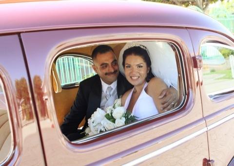 Vintage, Bride, Portraits, Groom, Wedding, Car