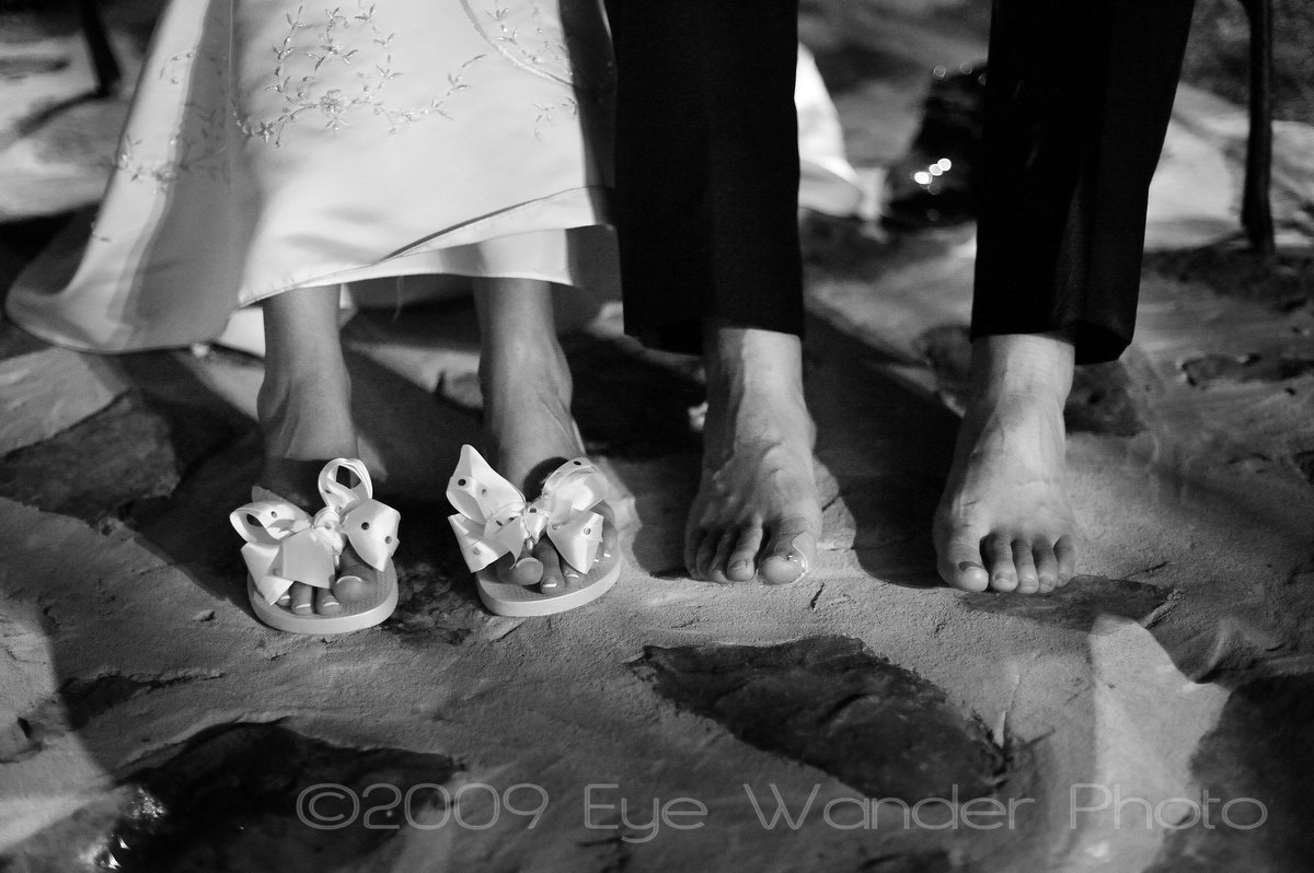 Reception, Flowers & Decor, Dancing, Bride and groom, Bw, Feet, Eye wander photo