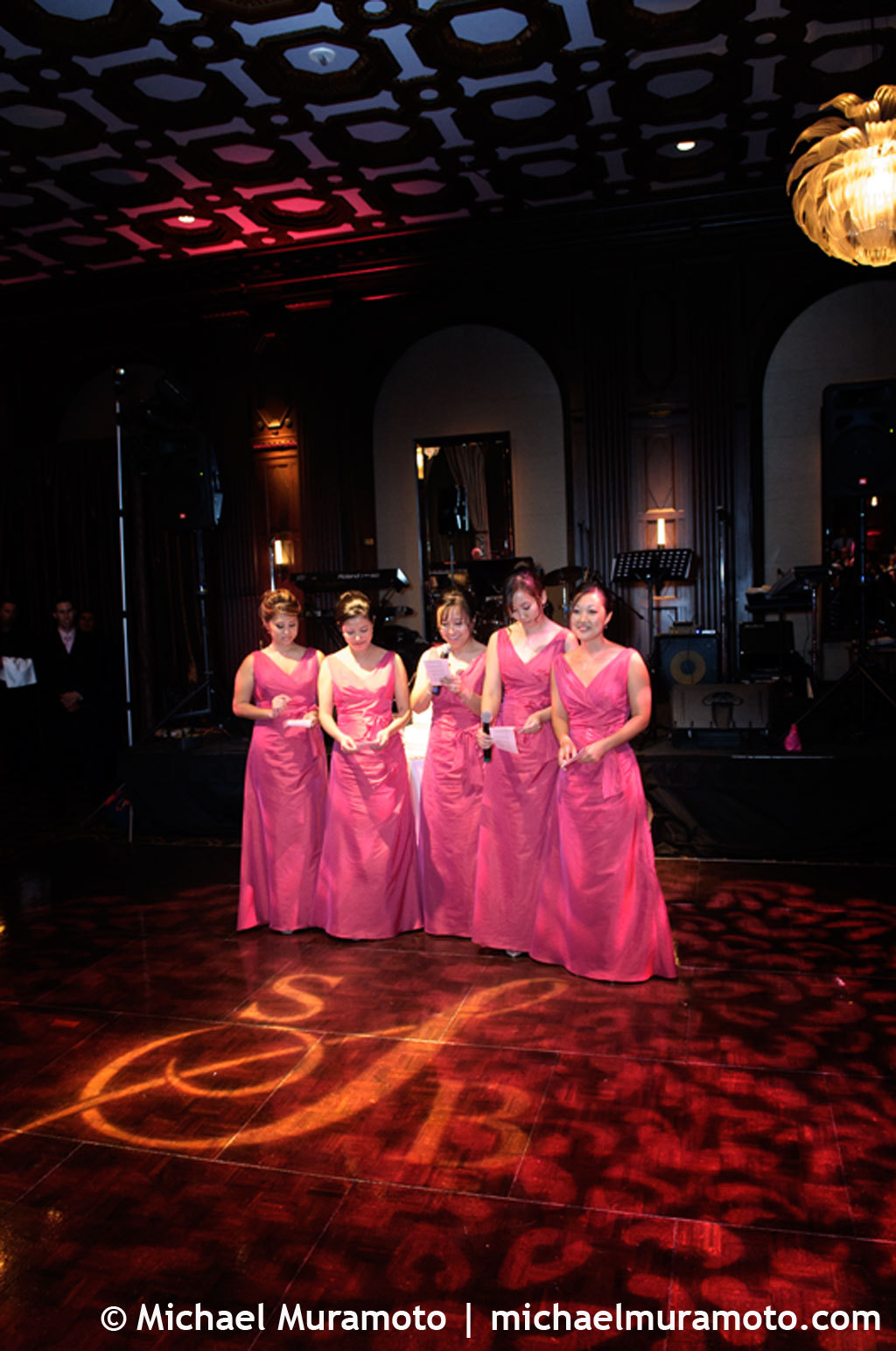 pink, Lighting, Toast, Bridesmaid, San francisco, Michael muramoto photography, Julia morgan, Merchants exchange