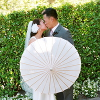 Flowers & Decor, Destinations, pink, brown, North America, Vineyard, Wedding, Umbrella, And, Parasol, Kissing couple, Napa valley