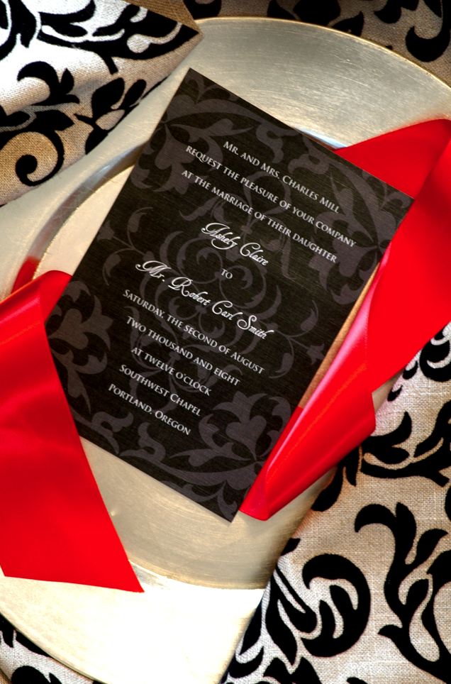 Stationery, white, red, black, invitation, Invitations, Save the date, Elegant, Ribbon, Swirl, Motif, Red bumble bee