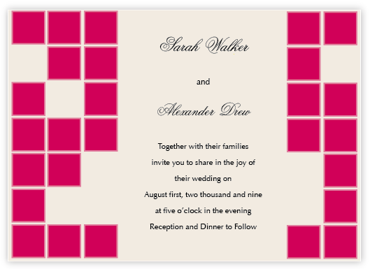 Stationery, ivory, pink, invitation, Modern, Square, Modern Wedding Invitations, Invitations, Simple, Chic, Red bumble bee