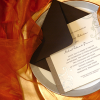 Stationery, orange, brown, silver, invitation, Invitations, Elegant, Envelope, Pretty, Mocha, Chic, Slate, Luxury, Red bumble bee