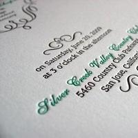 green, Invitations, Letterpress, Stationery