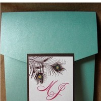 Beauty, Stationery, invitation, Feathers, Invitations, Wedding, Pocketfold, Peacock, Bg designs, Feather