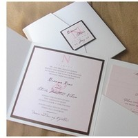 Stationery, pink, brown, invitation, Invitations, And, Pocketfold, Pocket, Bg designs, Folio