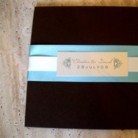 Stationery, blue, brown, invitation, Invitations, And, Tiffany, Ribbon, Pocketfold, Bg designs, Crystals, Folio