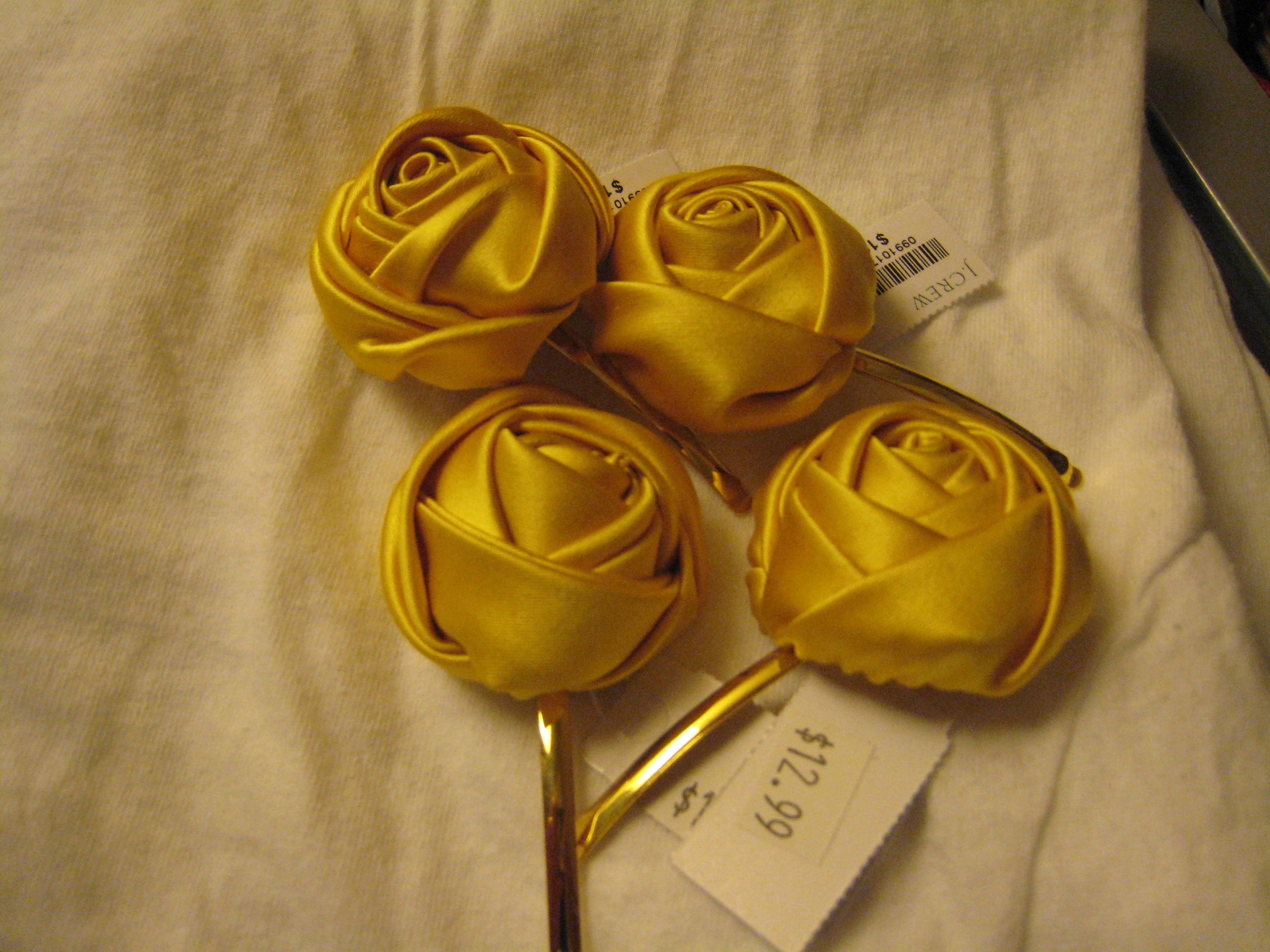 Beauty, yellow, Hairpin, Hair, Jcrew, Rosette