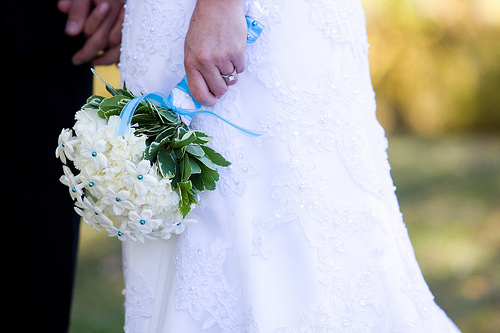 white, blue, Stephanotis, Accents, Bouquet, Carnations, Rose of sharon, event florist