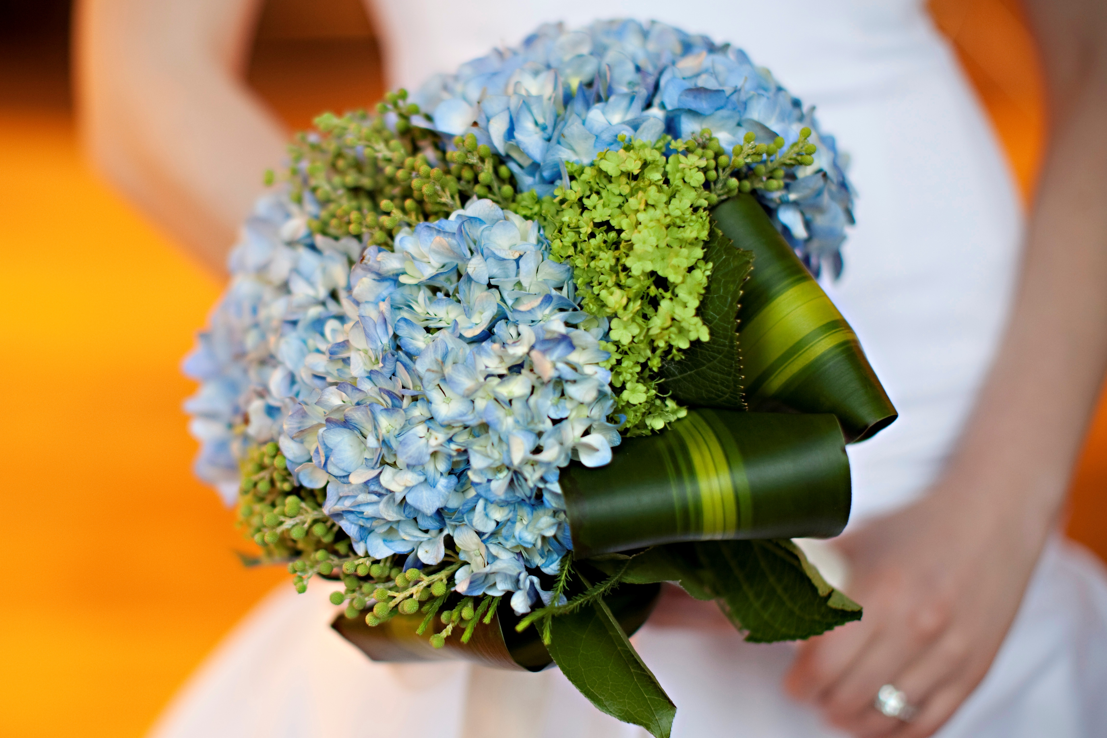 Flowers & Decor, blue, green, Bride Bouquets, Flowers, Bouquet, Bridal, Hand, Leaf, Hydrangea, Berries, Corn, Just bloomed florals, Held
