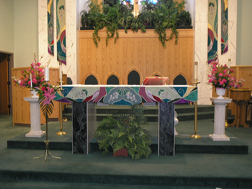 pink, Roses, Lilies, Altar, Rose of sharon, event florist