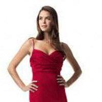 red, Mermaid, David's Bridal, Bridesmaid dress