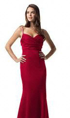 red, Mermaid, David's Bridal, Bridesmaid dress