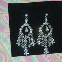Jewelry, silver, Earrings, Crystal, Chandelier