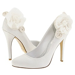 white, Wedding, Bridal, Rosette, Pump, Zappos