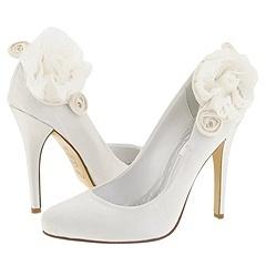 white, Wedding, Bridal, Rosette, Pump, Zappos