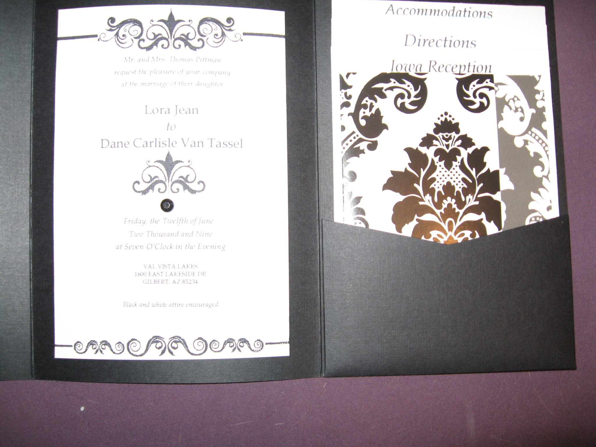 DIY, Stationery, white, black, invitation, Invitations, Damask