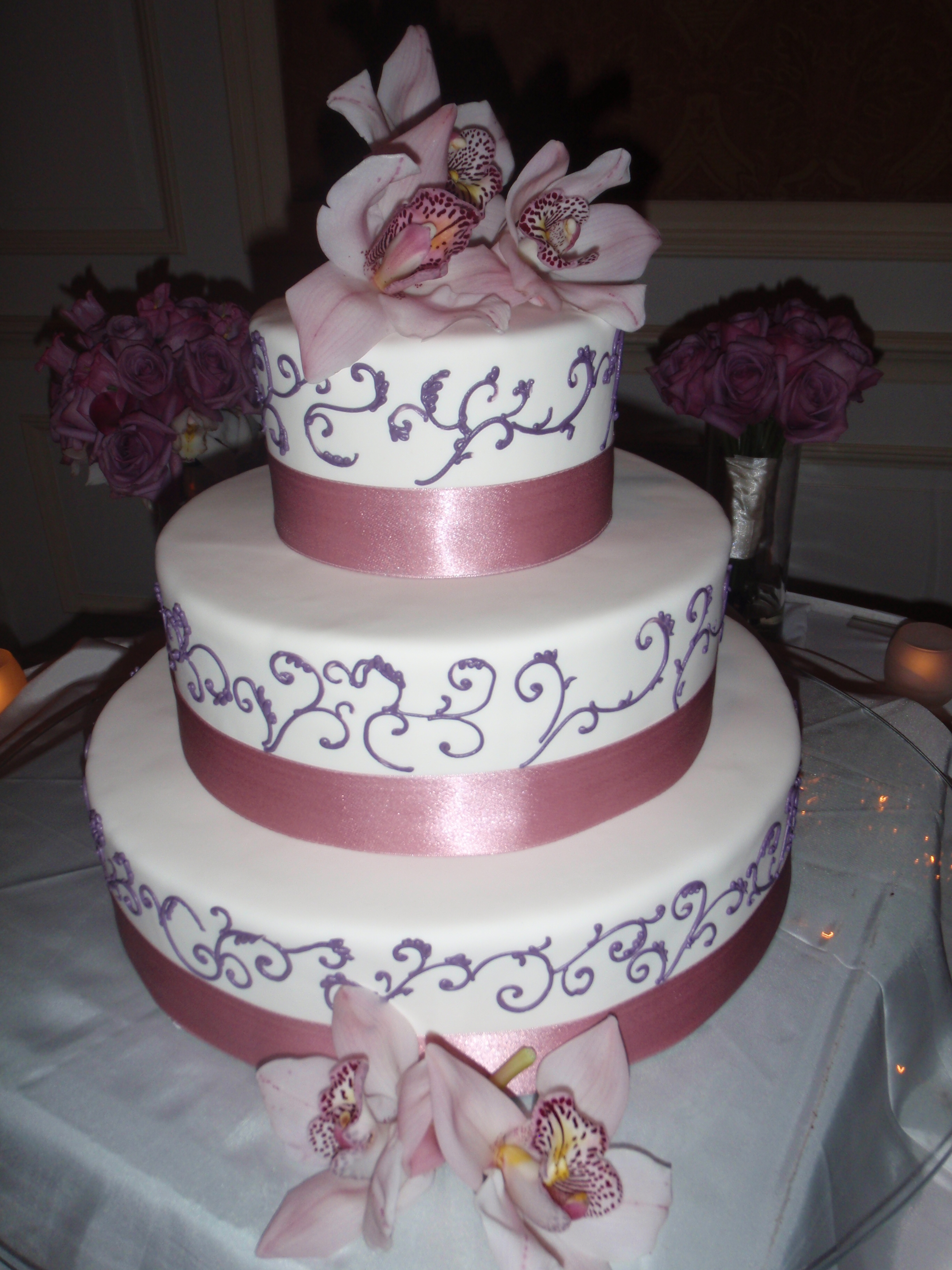 Reception, Flowers & Decor, Cakes, pink, purple, cake, Orchids