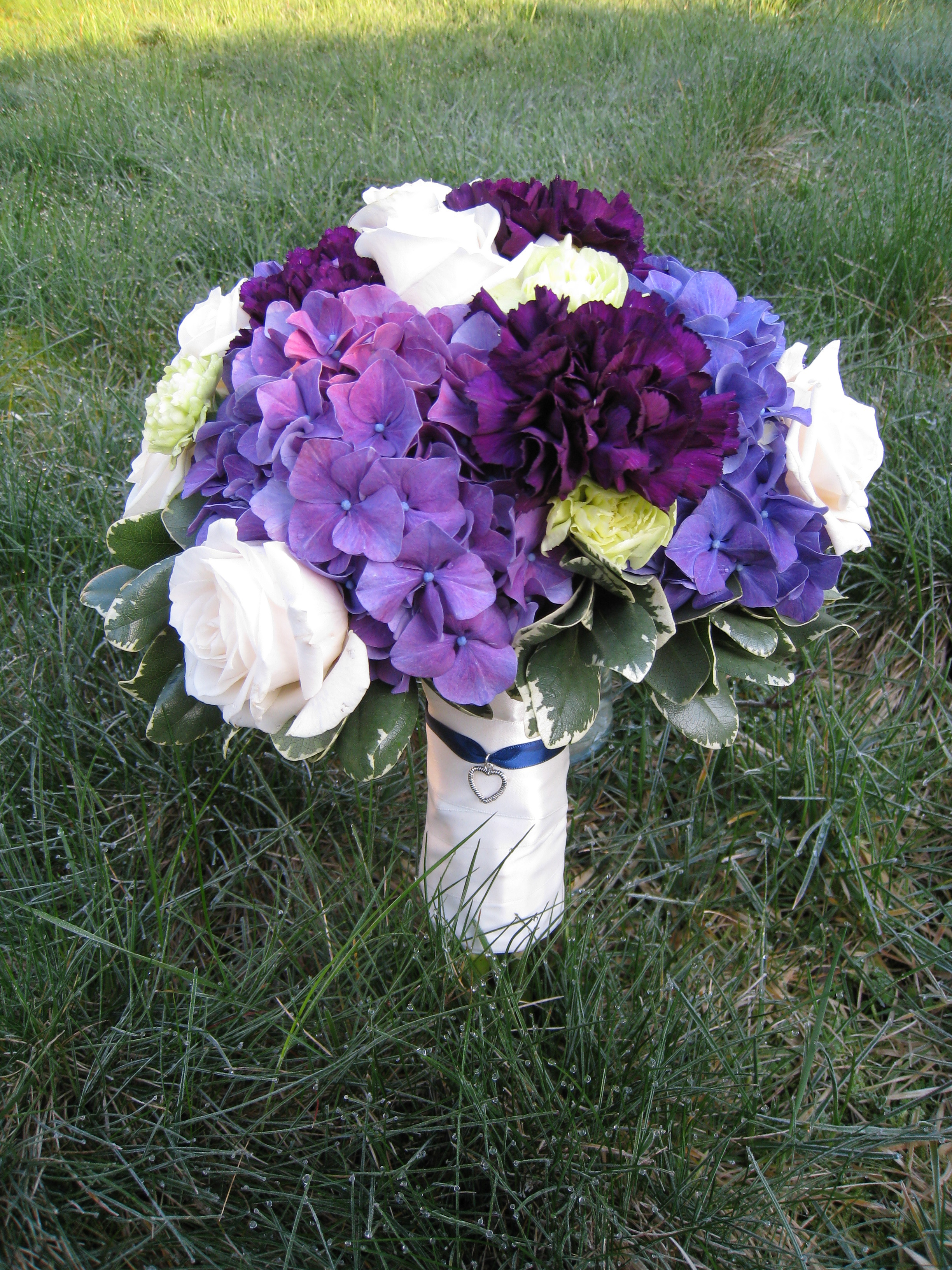Flowers & Decor, purple, Bride Bouquets, Flowers, Bouquet, Bridal, Hydrangea, Carnations, Designs by courtney
