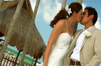 Destinations, Mexico, Beach, Bride, Groom, Wedding, Kiss, Ocean, Video, Edit 1 media
