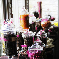 Reception, Flowers & Decor, Favors & Gifts, orange, pink, brown, gold, Favors, Chocolate, Candy, Buffet, Guest, Fuschia