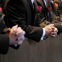 Ceremony, Flowers & Decor, Tuxedos, pink, brown, Ceremony Flowers, Boutonnieres, Groomsmen, Flowers, Chocolate, Rose