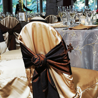 Reception, Flowers & Decor, brown, gold, Tables & Seating, Wedding, Tie, Chocolate, Chair, Sash, Guest, Satin, Tables, Rosette, Chaircover