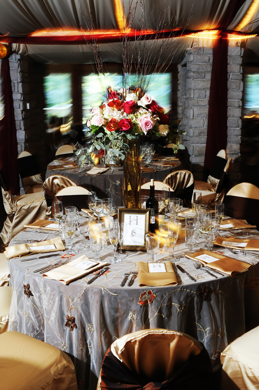 Reception, Flowers & Decor, ivory, pink, brown, gold, Centerpieces, Fall, Flowers, Fall Wedding Flowers & Decor, Roses, Centerpiece, Wedding, Branches, Table, Chocolate, Floral, Sash, Guest, Satin, Linen, Overlay, Chaircovers