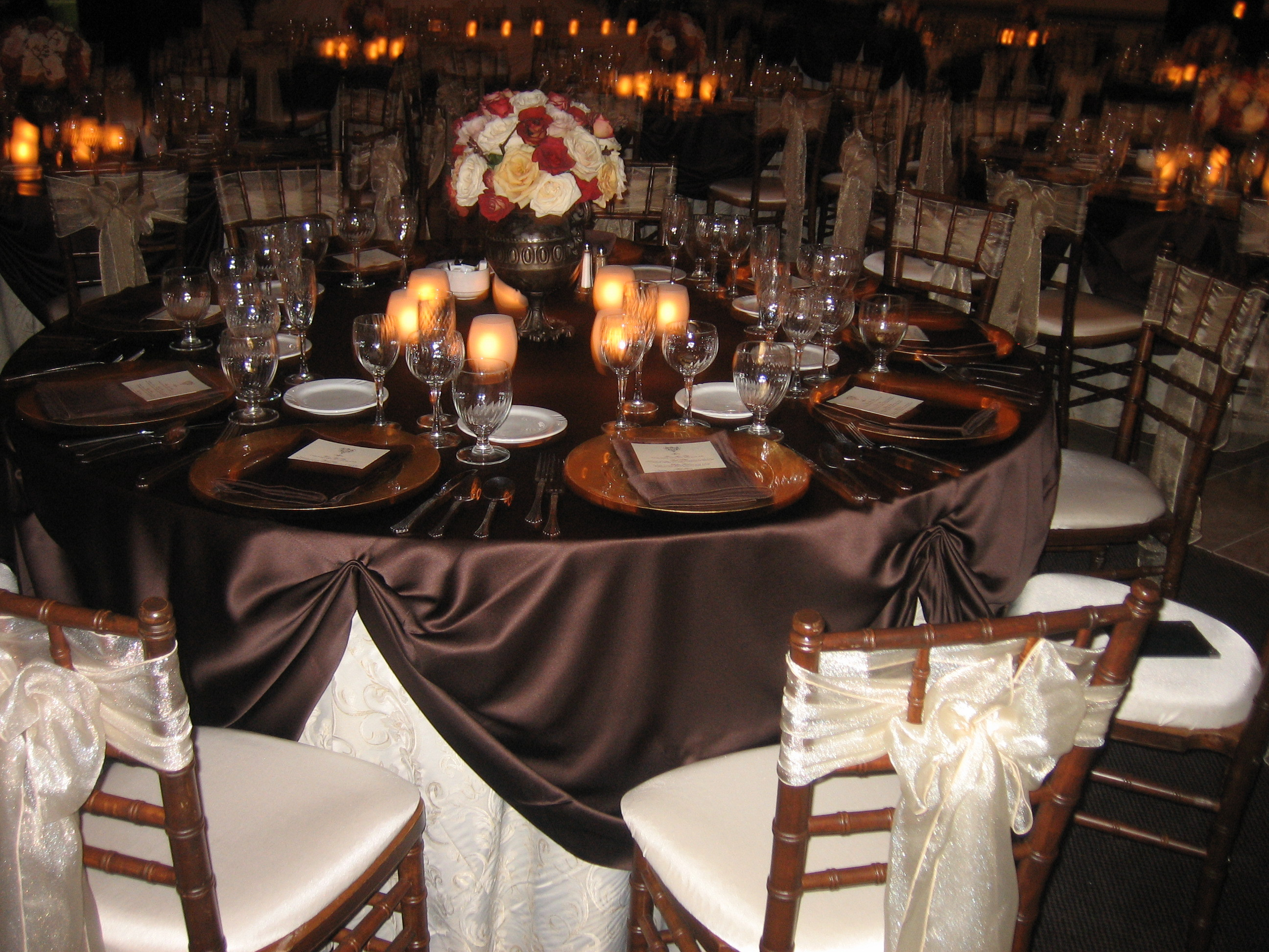 Reception, Flowers & Decor, Registry, ivory, orange, pink, brown, gold, Centerpieces, Candles, Place Settings, Flowers, Roses, Wedding, Table, Chocolate, Champagne, Chair, Sash, Organza, Plates, Rust, Antique, Charger, Chivari, Brocade