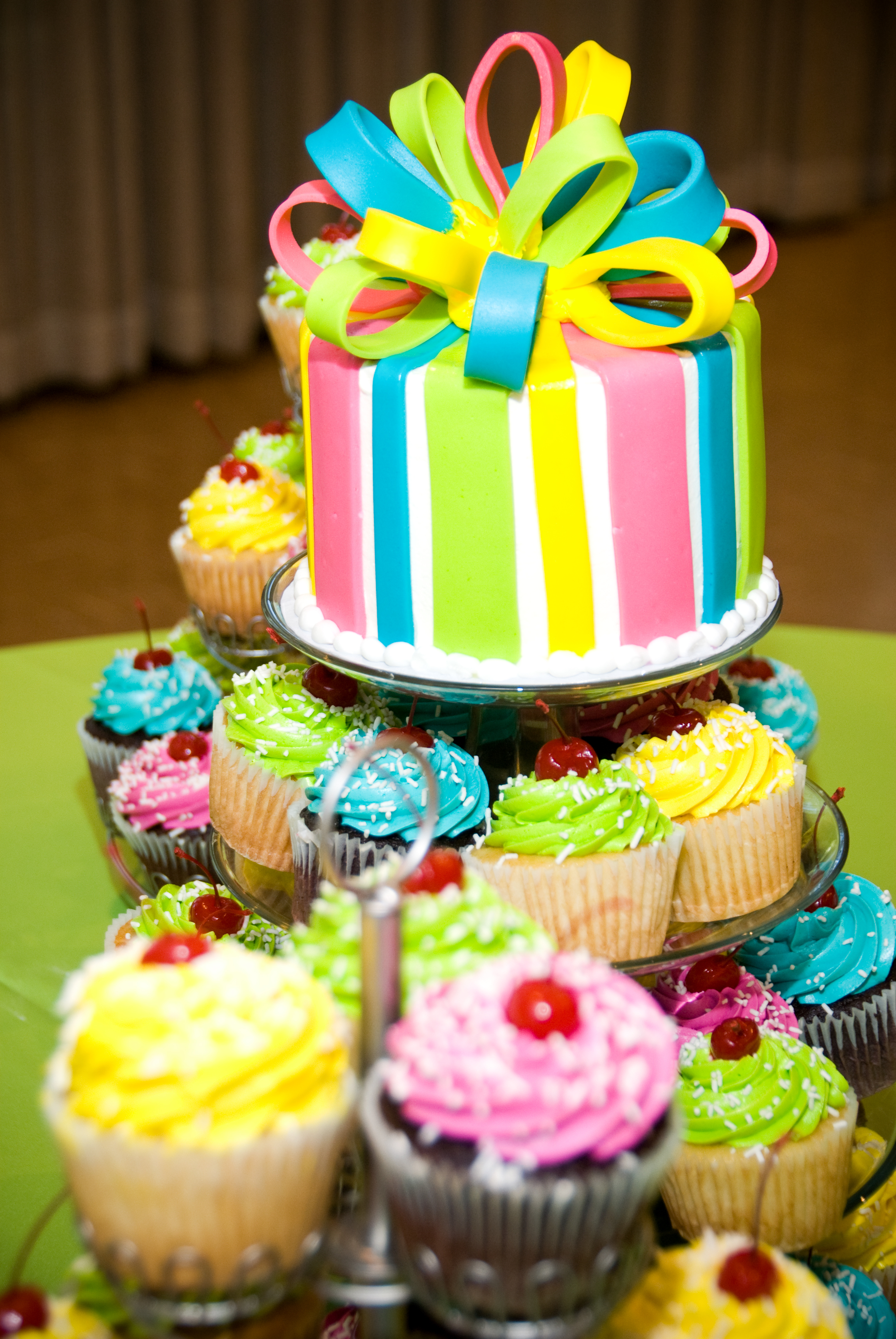 Reception, Flowers & Decor, Cakes, white, yellow, pink, green, cake, Summer, Cupcakes, Lime, Wedding, Colors, Bright, Turquoise