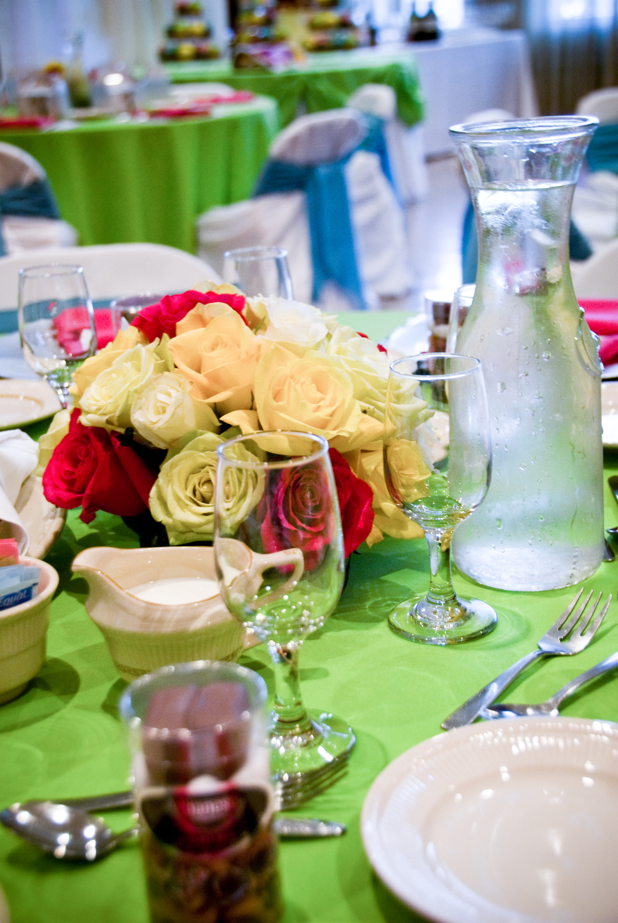 Reception, Flowers & Decor, white, yellow, pink, green, Centerpieces, Summer, Flowers, Lime, Wedding, Bright, Turquoise, Chaircovers