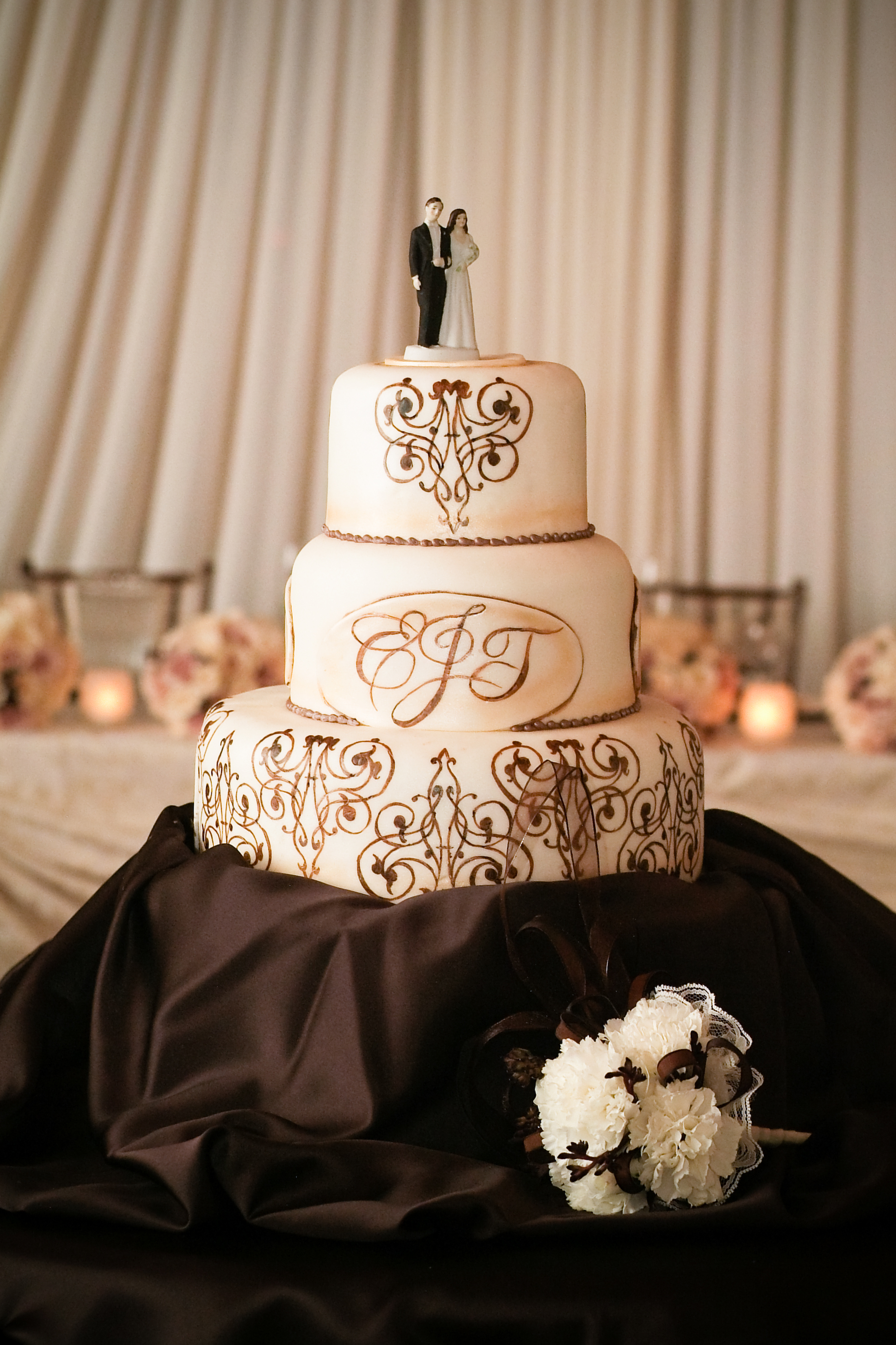Reception, Flowers & Decor, Cakes, ivory, brown, cake, Vintage, Vintage Wedding Cakes, Wedding, Table, Chocolate, Champagne, Style, Antique