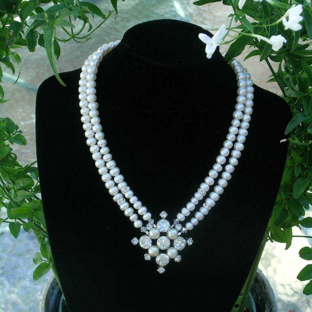 Bridal, Necklace, Rhinestone, Pearl, Belcanto bridal designs