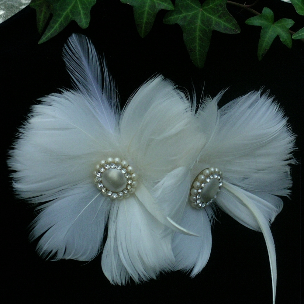 Beauty, Feathers, Rhinestone, Pearl, Hairpiece, Feather, Belcanto bridal designs